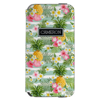 Flowers & Pineapple Teal Stripes | Add Your Name Incipio Watson™ iPhone 6 Wallet Case