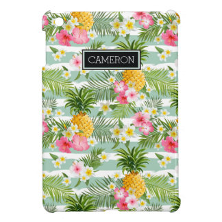 Flowers & Pineapple Teal Stripes | Add Your Name iPad Mini Cover