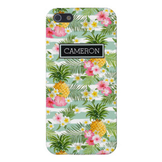Flowers & Pineapple Teal Stripes | Add Your Name iPhone 5 Covers