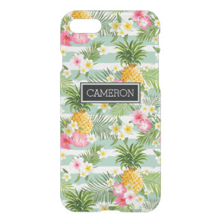 Flowers & Pineapple Teal Stripes   Add Your Name iPhone 7 Case