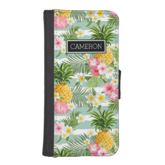 Flowers & Pineapple Teal Stripes | Add Your Name iPhone SE/5/5s Wallet Case