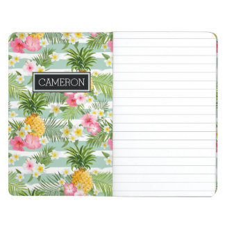 Flowers & Pineapple Teal Stripes | Add Your Name Journal