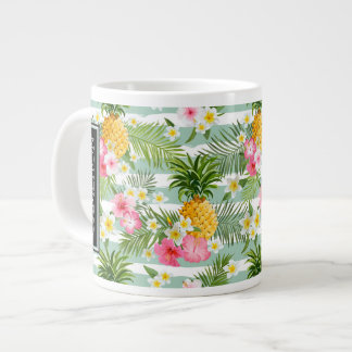 Flowers & Pineapple Teal Stripes | Add Your Name Large Coffee Mug