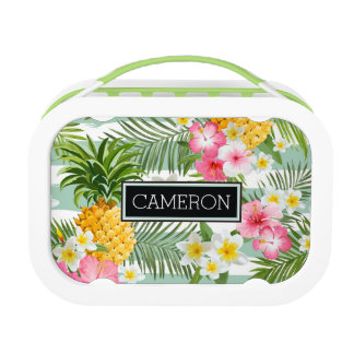 Flowers & Pineapple Teal Stripes | Add Your Name Lunch Box