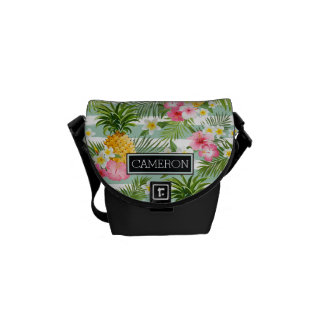 Flowers & Pineapple Teal Stripes | Add Your Name Messenger Bag