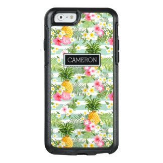 Flowers & Pineapple Teal Stripes   Add Your Name OtterBox iPhone 6/6s Case