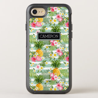 Flowers & Pineapple Teal Stripes   Add Your Name OtterBox Symmetry iPhone 7 Case