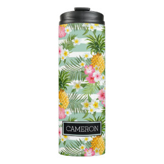 Flowers & Pineapple Teal Stripes | Add Your Name Thermal Tumbler