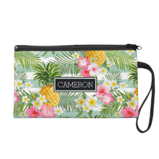 Flowers & Pineapple Teal Stripes | Add Your Name Wristlet