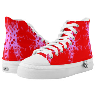 Flowers, Pink Lighting, Red Background High Tops