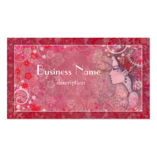 Flowers Pink Red and White with Illustrated Woman Business Card Template