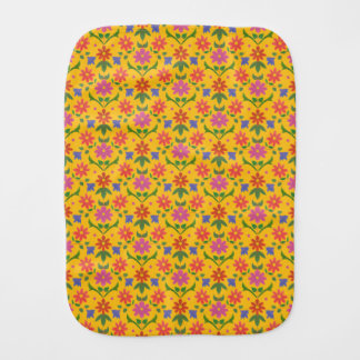Flowers, Polka Dots, Golden Yellow Baby Burp Cloth