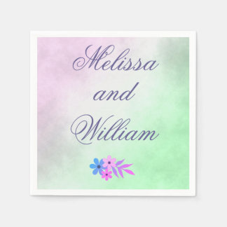 Flowers Purple and Green Wedding Parchment Disposable Napkins