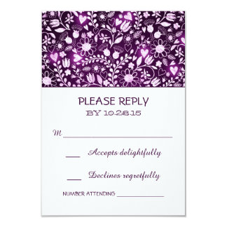 Flowers purple rustic wedding RSVP cards