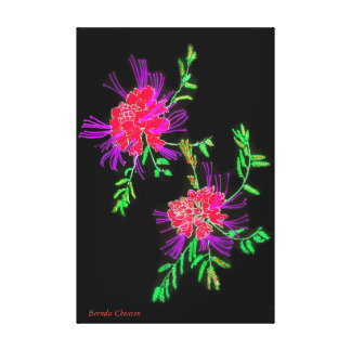 Flowers Red, Black Art on Canvas Canvas Print
