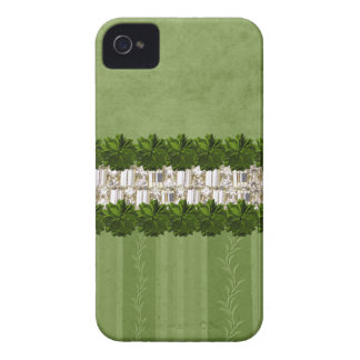 Flowers Rhinestones green Iphone Barely There Case Case-Mate iPhone 4 Case