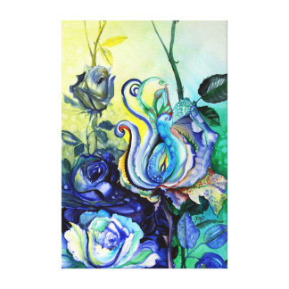 Flowers roses fantasy water color painting canvas print