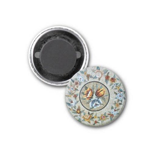 Flowers Round Medallion Decor Marble Mosaic Refrigerator Magnet