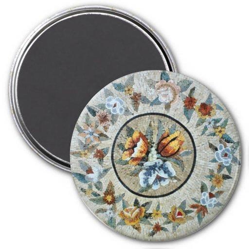 Flowers Round Medallion Decor Marble Mosaic Refrigerator Magnets