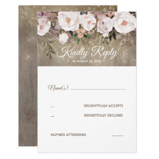 Flowers Rustic Wedding RSVP Card