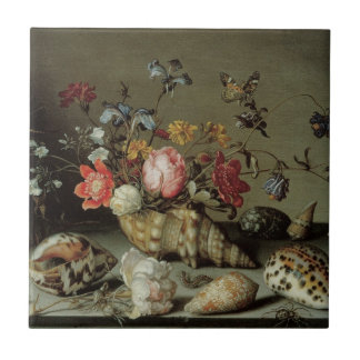 Flowers, Shells and Insects Balthasar van der Ast Small Square Tile