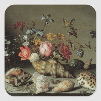 Flowers, Shells and Insects Balthasar van der Ast Square Sticker