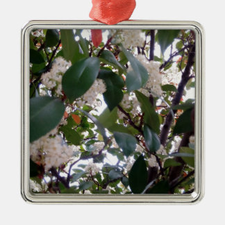 Flowers Silver-Colored Square Decoration