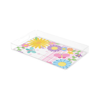 Flowers Small Rectangular Tray
