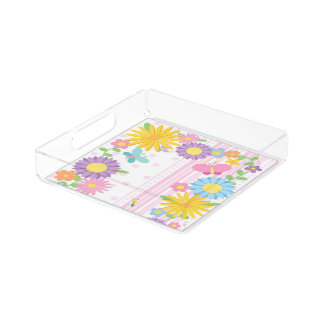 Flowers Small Square Tray