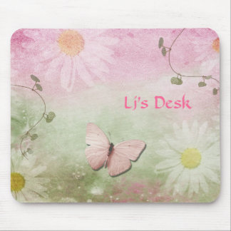 Flowers + Soft Swirl Vines + Butterfly Feminine Mouse Pad