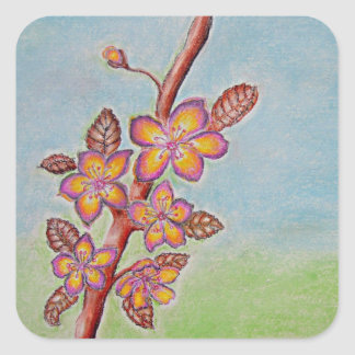flowers square sticker
