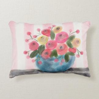 "FLOWERS & STRIPES Accent Pillow 16"" x 12"""