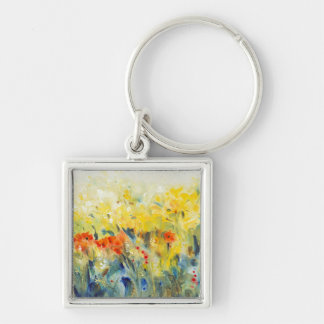 Flowers Sway II Silver-Colored Square Key Ring