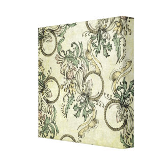 Flowers Swirled Circle Background Gallery Wrapped Canvas
