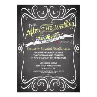 Flowers & Swirls Chalkboard After Wedding Invite