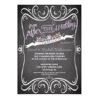 Flowers & Swirls Chalkboard Post Wedding Invite