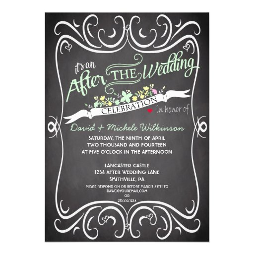 Flowers & Swirls Chalkboard Post Wedding Invite