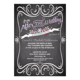Flowers Swirls Chalkboard Post Wedding Invite