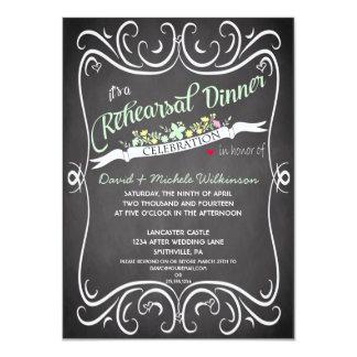 Flowers & Swirls Chalkboard Rehearsal Dinner Card