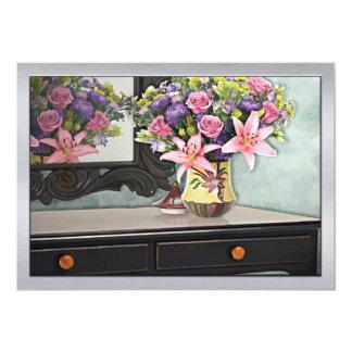 Flowers, Table & Mirror in the Foyer Still Life 13 Cm X 18 Cm Invitation Card
