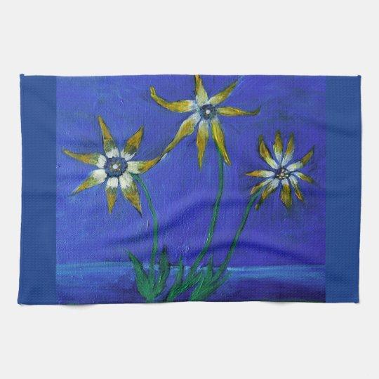Flowers textured art Tea Towel 40.6 cm x