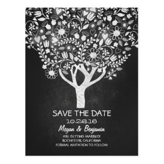 Flowers tree chalkboard save the date postcard