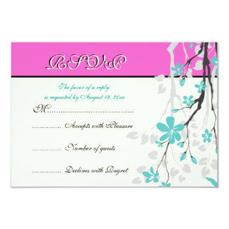 Flowers turquoise, hot pink wedding RSVP card 9 Cm X 13 Cm Invitation Card