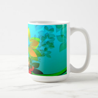 Flowers, Vines and Leaves Abstract Art Coffee Mugs