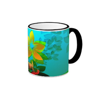 Flowers, Vines and Leaves Abstract Art Mugs