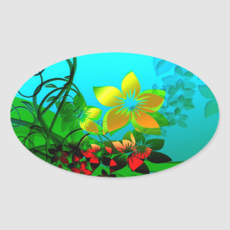 Flowers, Vines and Leaves Abstract Art Oval Stickers