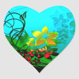 Flowers, Vines and Leaves Abstract Art Heart Stickers