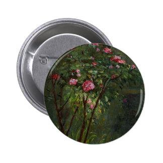 flowers vintage Gustave Caillebotte rose bush pink 6 Cm Round Badge