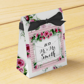 FLOWERS WEDDING  Tent with Ribbon Favor BLACK Favour Box