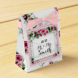 FLOWERS WEDDING  Tent with Ribbon Favor PINK Favour Box